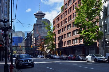 downtown vancouver with harbor centre background Editorial