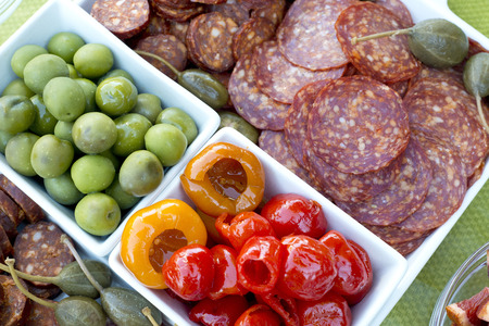 fruit and meat party tray Stock Photo