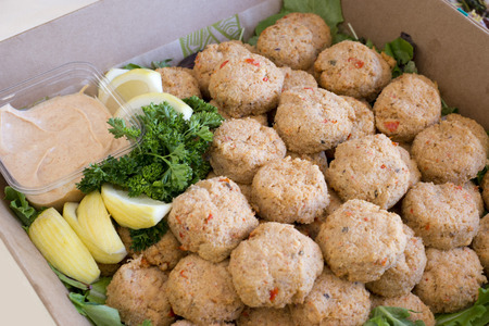 party tray: party tray of crab cakes