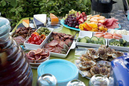 party tray: party tray with fruits and meats Stock Photo