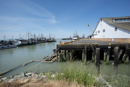 toulon: old cannery building at pier in Steveston, Canada