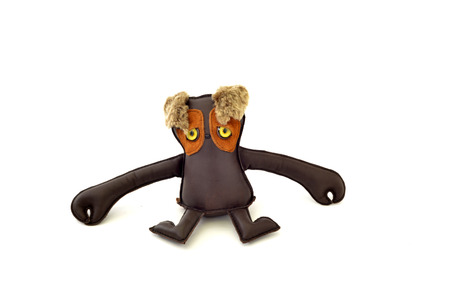 a cute custom handcrafted stuffed leather toy long armed freak Stock Photo