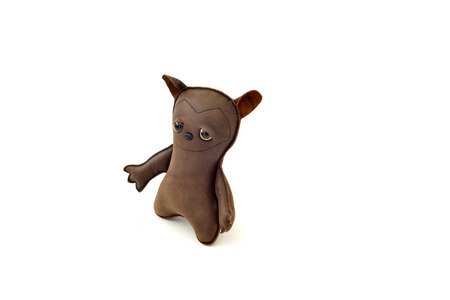a cute custom handcrafted stuffed leather toy crazy dog