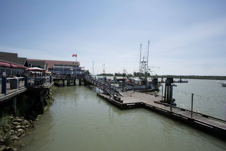 toulon: old buildings along a pier at Steveston, Canada