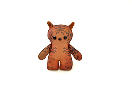 a cute custom handcrafted stuffed leather toy tabby cat