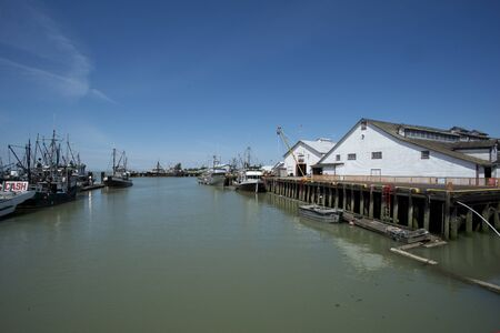 toulon: old cannery at pier in Steveston, Canada Editorial