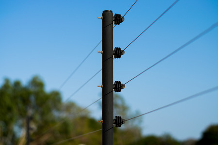 wire fence: High Voltage Fence Stock Photo