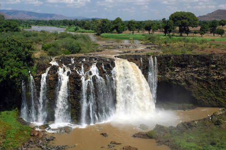 People at Blue Nile Falls in Ethiopia photo