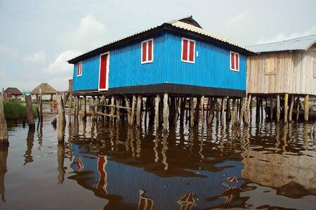stilt house: Colorful stilt house of Ganvie in Benin