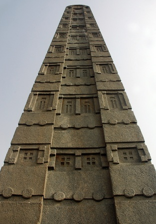 stele: King Azanas stele in northern field in Axum in Ethiopia