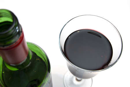 moderation: Abstract of bottle and glass of wine on a white background