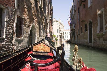 gondola: On board a  Gondola Venice Italy Stock Photo
