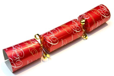 Festive christmas cracker over a white background Stock Photo