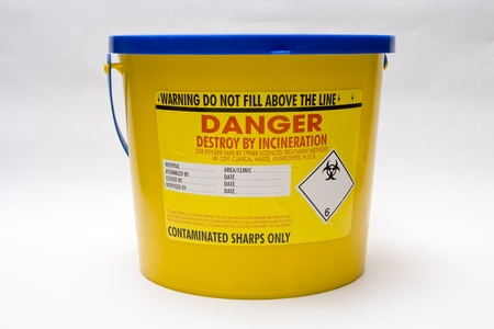 Sharps bin for disposal of clinical waste