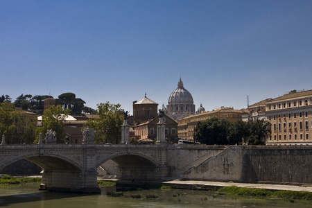 tiber: Bridge over the River Tiber in Rome Italy Stock Photo