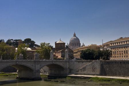 Bridge over the River Tiber in Rome Italy Stock Photo