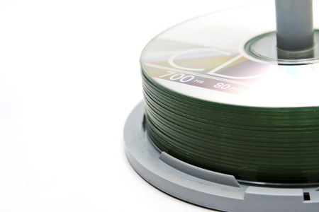 recordable: A spindle of recordable compact discs Stock Photo