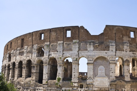 The famous Roman landmark of the Colosseum in Rome Italy