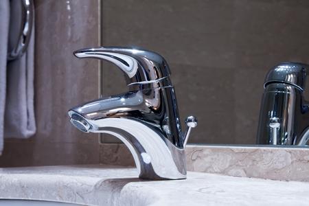 Highlt polished bathroom tap