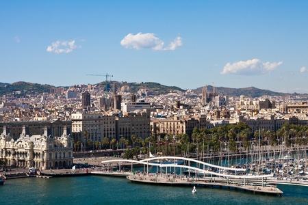 View of La Rambla del Mar and Port Vell in Barcelona Spain Stock Photo