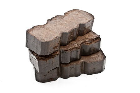 Peat fuel blocks for use in an open fire Stock Photo