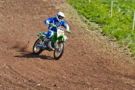 A moto cross racer in action