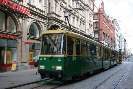 Old tram in city centre, Helsinki, Finland