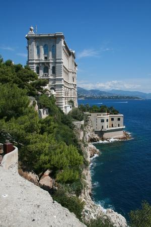oceanographic: Oceanographic Museum overlooking coastline, Monaco Editorial