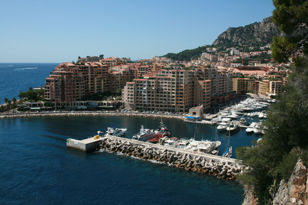 oceanographic: View from adjacent to Oceanographic Museum of coastal buildings and small marina, Monaco