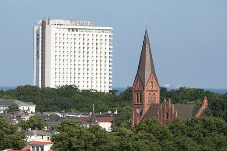 neptun: Warnemunde Church and Hotel Neptun on skyline of Warnemunde, Germany