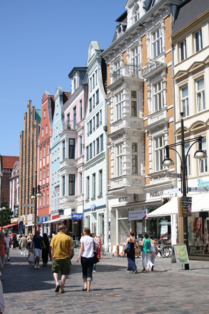 rostock: Main shopping street in Rostock, Germany Editorial