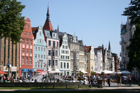 Main shopping street in Rostock, Germany Editorial