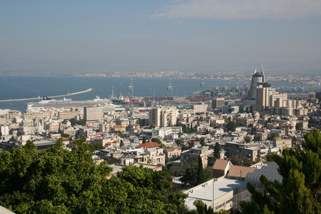 haifa: View of Haifa from Shrine of the Bab, Haifa, Israel Editorial
