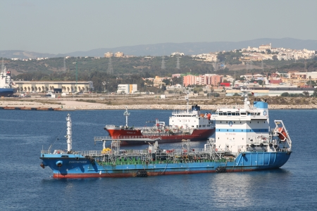 moored: Oil and gas tankers moored in Gibraltar Harbour, Gilbraltar