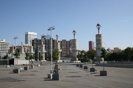 espanya: Parc de l Espanya Industrial, Barcelona, Spain Stock Photo