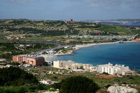 View across Mellieha Bay, Mellieha, Malta