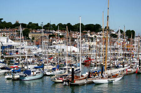 wight: Marina and shore buildings, Cowes, Isle of Wight, England