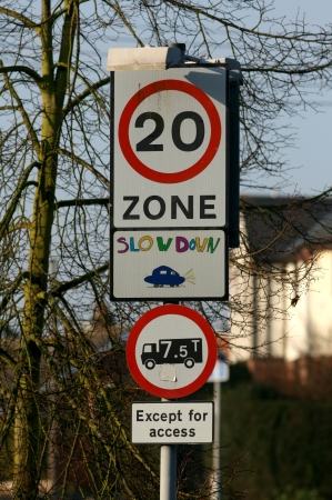 mph: 20 mph zone sign near school, Braintree, Essex, England