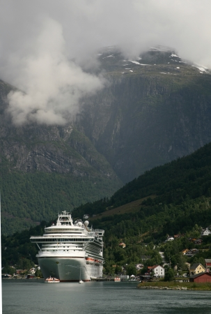Cruise ship anchored, Nordfjord in Olden, Norway photo