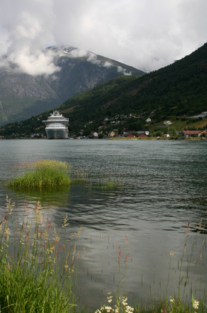 olden: Cruise ship anchored, Nordfjord in Olden, Norway