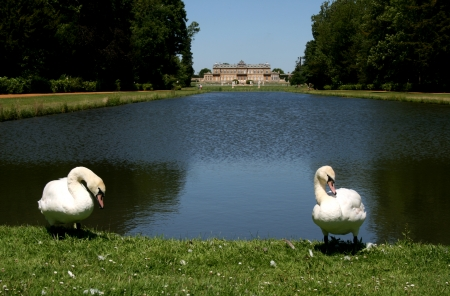 wrest: Wrest House and The Long Water, Wrest Park, near Silsoe, Bedfordshire, England