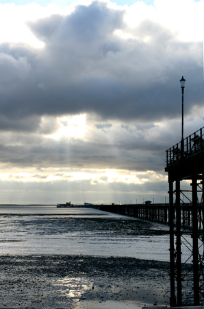 Southend Pier at low tide, Southend on Sea, Essex, England