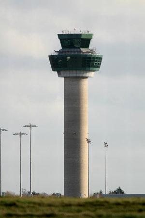 essex: Air traffic control tower, Stansted Airport, Essex, England Stock Photo
