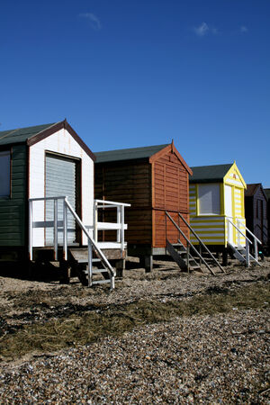 Beach huts, Thorpe Bay, near Southend on Sea, Essex, England photo