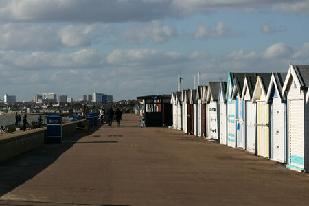 Beach huts and promenade, Shoeburryness, near Southend on Sea, Essex, England