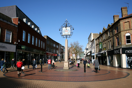 Pedestrian shopping precinct, High Street, Chelmsford, Essex, England Editorial