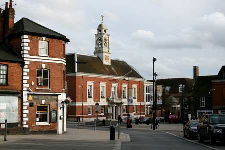 market place: Braintree Town Hall viewed from Market Place, Braintree, Essex, England