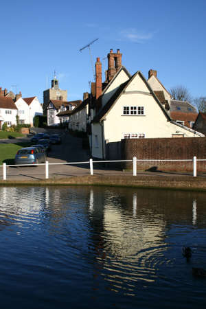 essex: Houses and pond, Finchingfield, Essex, England Editorial