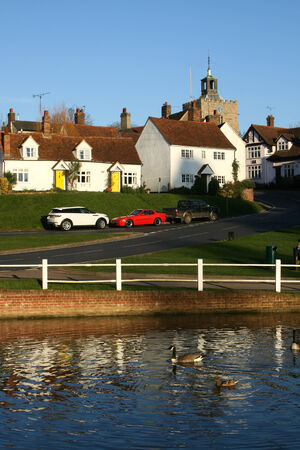 essex: Houses and pond, Finchingfield, Essex, England Stock Photo