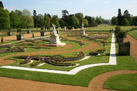 pavillion: French Garden viewed from Wrest House looking towards Archer Pavillion, Wrest Park, near Silsoe, Bedfordshire, England Editorial